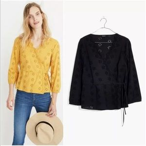 Madewell Scalloped Eyelet Wrap Top size 2X